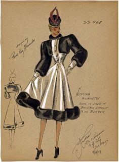 The Paper Collector: André Fashion Studios, 1930-1941 40s illustration black and white dress hat gloves color print ad