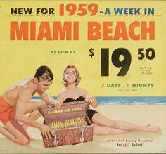 $19.50 for a week in Miami - where do I sign up?! #1959 vintage Florida ad