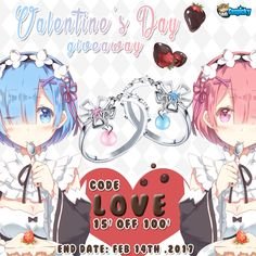 """Valentine's Day is coming up, what's the gift your sweetheart?  Cospicky has one idea for you! <3 How about this """"Rem Ram Couple Rings"""" For Free?  Total 2 winners   1. Follow @cospicky 2. Like and Repin this pic  3. Finish above and enter here: https://goo.gl/c4xZwO 4.Ends on Feb 14th,2017  During this period, you can use a discount code """"Love"""" to have 15$ off 100$ or above spend."""