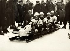 Team GB's four-man bobsleigh team which won the bronze medal at the Winter Olympic Games in Garmisch-Partenkirchen, Germany in 1936.  Pictured are Guy Dugdale, Frederick McEvoy, James Cardino and Charles Green.