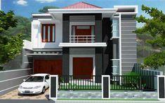 Gambar desain rumah type 90 2 lantai tampak depan