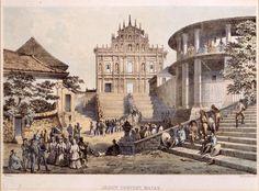 The façade of St. Paul's College in Macau, 1854.