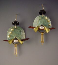 Doezigns. jewelry image of Handmade paper earrings with pearls,wood,and beads