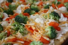Cold Veggie Pizza- a recipe from my friend Diana- seems that you can use any combo of veggies, and it is like eating your salad out of your hand.