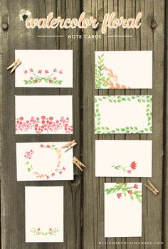 These watercolor floral note cards are just what you need for any occasion. Print and use for birthday gifts, place cards, labels, love notes, you name it!