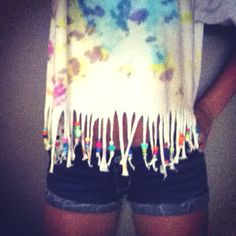 Tye dye shirt with fringe and beads. Easy- home design