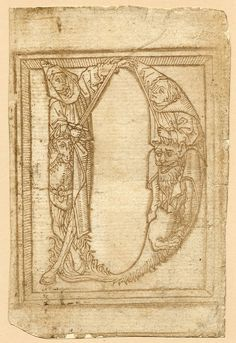 Гротескный алфавит. Неизвестный автор-1464 год. Young couple holding hands, grouped to form the letter 'A' of an ornamental alphabet. c.1480-1500 Неизвестный автор.1464 ====================Print made by Anonymous ===========…