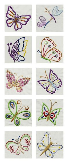 Wonderful Ribbon Embroidery Flowers by Hand Ideas. Enchanting Ribbon Embroidery Flowers by Hand Ideas. Crewel Embroidery Kits, Butterfly Embroidery, Machine Embroidery Patterns, Silk Ribbon Embroidery, Embroidery Needles, Butterfly Pattern, Embroidery Ideas, Broderie Simple, Creeper Minecraft