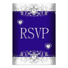 RSVP Royal blue Wedding White Diamond Hearts 2 Card