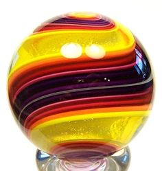 "EDDIE SEESE ART  GLASS 1-1/2"" EXOTIC DICHROIC YELLOW DOUBLE TWIST MARBLE"