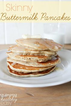 Skinny Buttermilk Pancakes - with flaxseed, low-fat buttermilk and white whole wheat flour. They're rich, fluffy and have a delicious nutty flavor plus keep you full for hours. The perfect skinny breakfast treat!