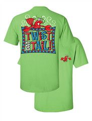Southern Couture Twist Dat tail Crawfish Country Girlie Bright T Shirt | SimplyCuteTees
