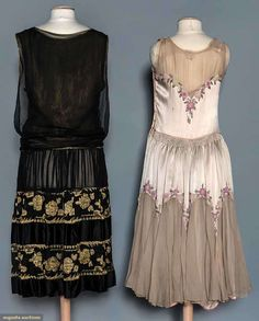 1920s 2 EVENING DRESSES, 1 Black silk/gold lame, floral pattern & embellishment, some deterioration of lining; 1 cream silk w/ pink beaded flowers, sheer silk at neck slightly torn. Back