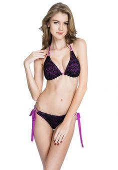 719cdf57d0 Colloyes Allover Black Lace   Purple Fabric Triangle Top Bikini Set with  Light Removable Paddings and Brazilian Cut Scrunch Butt