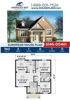 You're going to love this European design, Plan 6146-00461 is highlighted by 960 sq. ft., 2 bedrooms, 1 bathroom, a covered porch and an open floor plan. #europeanhomes European Plan, European House Plans, Best House Plans, Floor Plan Drawing, Building Section, Construction Cost, Build Your Dream Home, Open Floor, Square Feet