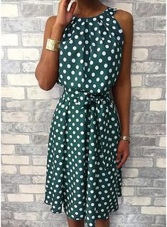 Feitong Women Halter Dress Summer Fashion Polka Dot Knee-Length Dress Sleeveless Dresses Off Shoulder Casual Loose Dress 2019 Halter Dress Summer, Summer Dresses, Vacation Dresses, Holiday Dresses, Summer Clothes, Floryday Vestidos, Robes Midi, Komplette Outfits, Casual Outfits
