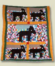 Mules  Made by Mary Maxtion  Made in Boligee, AL  c. 1990  IQSC 2000.004.0062  Robert and Helen Cargo Collection of African-American Quilts
