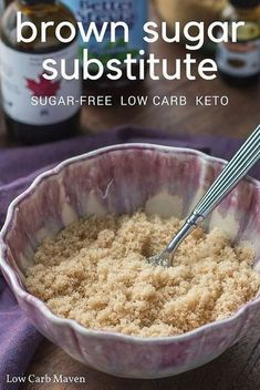 Learn how to make brown sugar substitute with this easy recipe. Sugar-free and low carb brown sugar substitute too. via Learn how to make brown sugar substitute with this easy recipe. Sugar-free and low carb brown sugar substitute too. via Low Carb Maven Sugar Free Baking, Sugar Free Desserts, Sugar Free Recipes, Diabetic Desserts Sugar Free Low Carb, Sugar Free Meals, Sugar Substitutes For Baking, Sugar Free Cookies, Chip Cookies, Low Carb Sweets