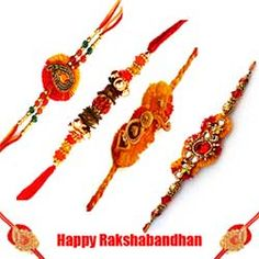 Beautifully Gift Wrapped Special Designer 4 Pcs Rakhi with Free Roli Tilak and Chawal. -Send this exclusive Rakhi Gifts to your loved ones through us. (Delivery Within 2 To 4 Days)