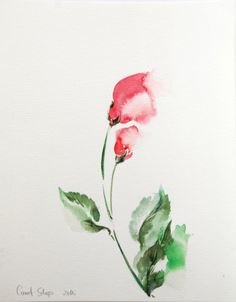 Abstract Flowers Original Watercolor Painting Floral by CanotStop, $72.00