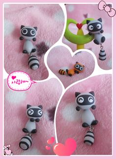 2013 free shipping women jewelry, Handmade polymer clay cartoon small raccoon stud earring with 925 sterling needle-wholesale