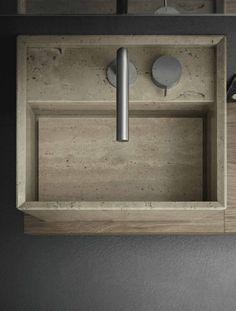 Novello Bathroom Hardware, Laundry In Bathroom, Modern Bathroom Design, Bathroom Interior, Modern Bathroom Sink, White Bathroom, Deco Stickers, Stone Basin, Old Home Remodel