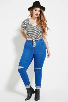 Plus Size Distressed Jeans | Forever 21 PLUS #forever21plus