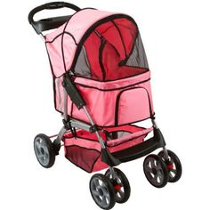 GHP Pink 55Lb Capacity Pet Stroller w Retractable Awning  Storage Basket ** For more information, visit image link.