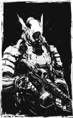 Black & white mech suit or mecha #illustration with hints of Shirow Masamune influence // Hong-Cuong Thuon