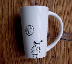 Hazel owl tall coffee mug tea black and white by TheRusticHome, $18.99
