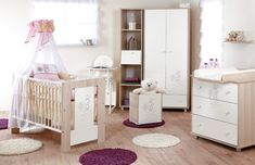 White and brown Baby Nursery Furniture Sets, Kids Furniture, Junior Bed, Baby Room Design, Dream Baby, Hanging Shelves, Baby Cribs, Toddler Bed, Home Decor
