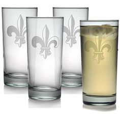 INSTEN Fleur De Lis Hiball Glasses (Set of 4) featuring polyvore, home, kitchen & dining, drinkware, clear, hi-ball glass, glass drinkware, highball glass and high-ball glass