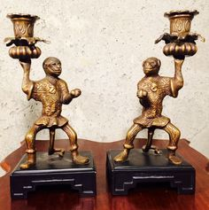 SOLD on Etsy:  Stylish Brass Metal Monkey candle holders on black lacquer Ming base