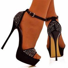 casual black strape ankle ladies high heel sandal