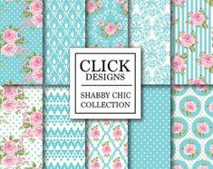 Shabby Chic Digital papel: Mal polvo scrapbook por ClickDesigns