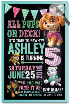 Girl Skye Paw Patrol Birthday Invitations [DI-637] : Custom Invitations and Announcements for all Occasions, by Delight Invite