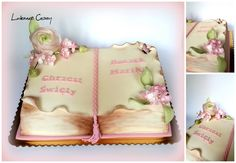 Open book cake, wafer paper flowers, christening cake