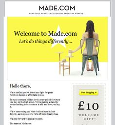 Made.com | welcome | WelcomeEmails | emailmarketing | email | newsletter | welcome newsletter | welcome email | WelcomeEmail | relationship emails | emailDesign