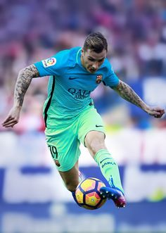 Lucas Digne controls the ball during the La Liga match between Club Atletico de Madrid and FC Barcelona at Vicente Calderon Stadium on February 26, 2017 in Madrid.