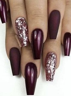 Fantastic Matte & Glossy Long Coffin Nail Designs in 2019 - Best Nail Art Designs Best Acrylic Nails, Acrylic Nail Designs, Glitter Nail Designs, Fall Nail Art Designs, Coffin Nails Long, Long Nails, Glitter Nails, Gel Nails, Bright Nail Art