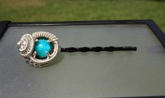 Green Dichroic Glass Wire Wrapped Hair Pin by TwistedBlissDesigns, $49.00