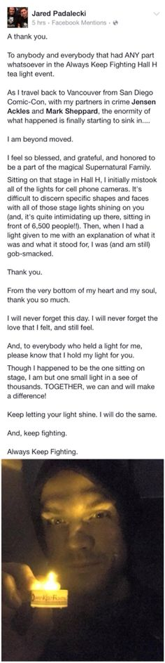 The audience lights a candle in show of support for Jared and his struggle with depression. SDCC 2015 - Jared Padalecki's thank you note.