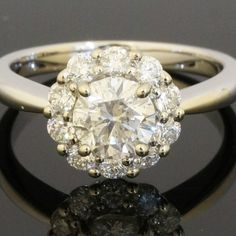 18Carat-White-Gold-118ct-Claw-Set-Daisy-Diamond-Cluster-Ring-Size-L-12-291601135143