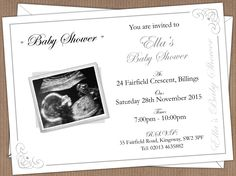 Baby Shower Invitations, really sweet and available from D & L Designs Ltd. You get to have your own baby scan printed on them! Prices start from just £6.50 free delivery (uk inland only).