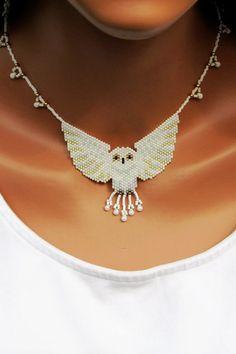 flat peyote White Owl Bead-Woven Necklace