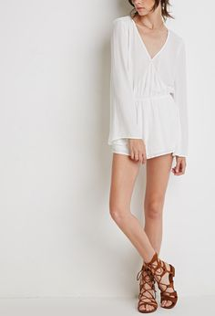 Crochet Trim Bell-Sleeved Romper | Forever 21 - 2000053520