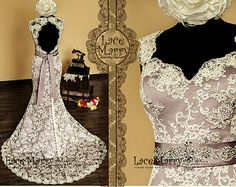 Baroque Dusty Purple Underlay Vintage Style Lace Wedding Dress with Sweetheart Neckline and Deep Keyhole Featuring Hand Beaded Satin Sash