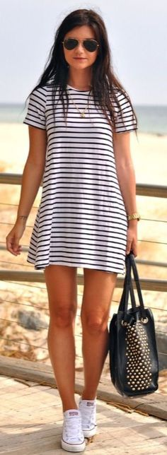 stripe dress + converse.