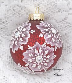 Red+Textured+Floral+Design+Ornament+with+Bling+by+MargotTheMUDLady