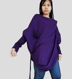 Purple Poncho Tunic TopAsymmetrical Long Sleeve by thaisaket